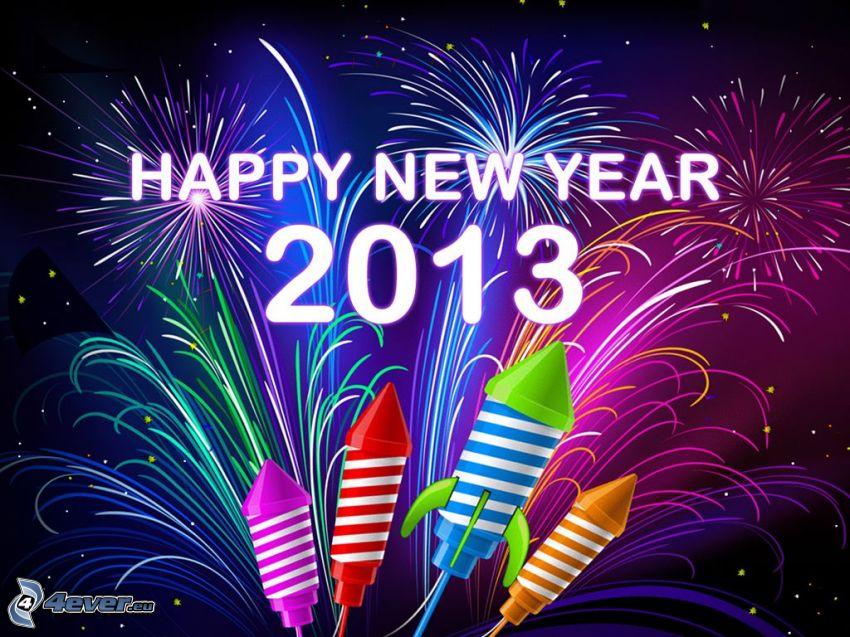 heureuse nouvelle année, 2013, feux d'artifice