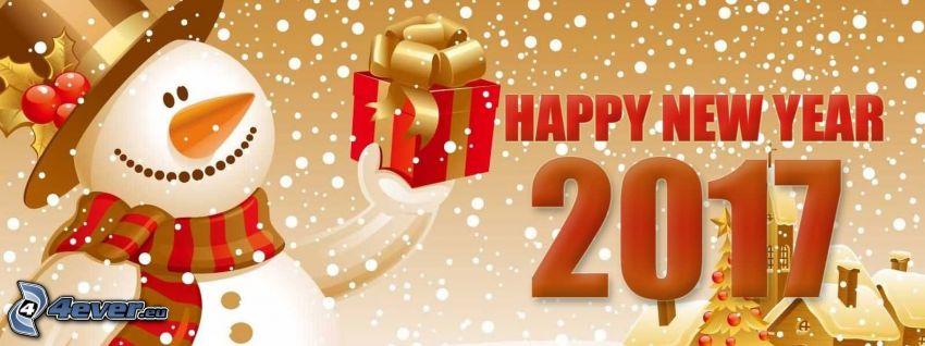 heureuse nouvelle année, happy new year, 2017, homme de neige, cadeau, chalets enneigés