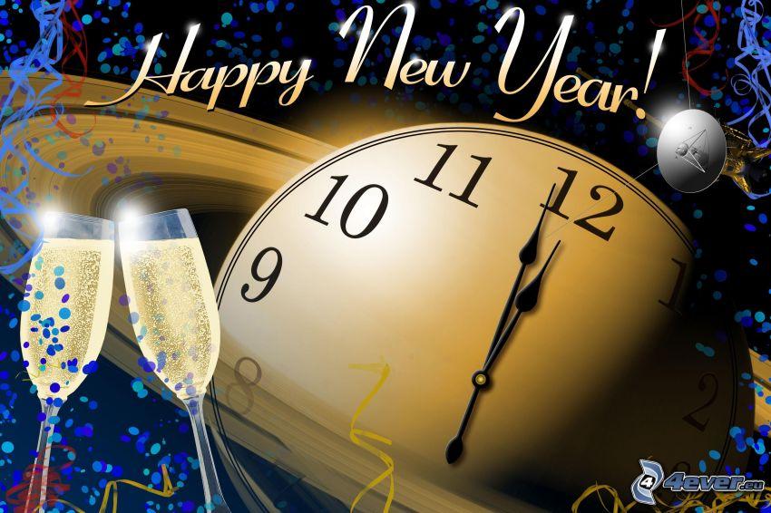 heureuse nouvelle année, horloge, champagne