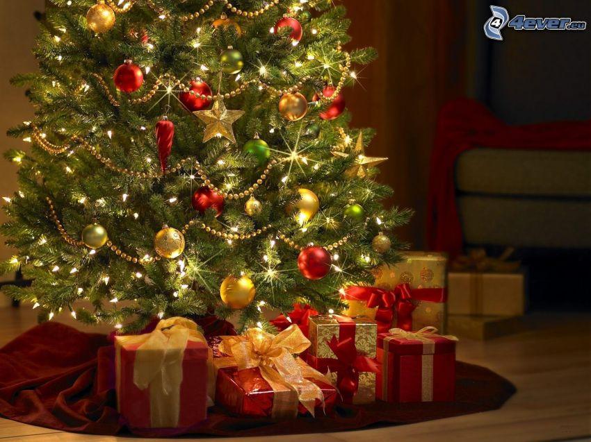 arbre de Noël, cadeaux