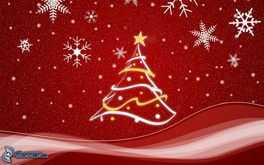 arbre de Noël, flocons de neige