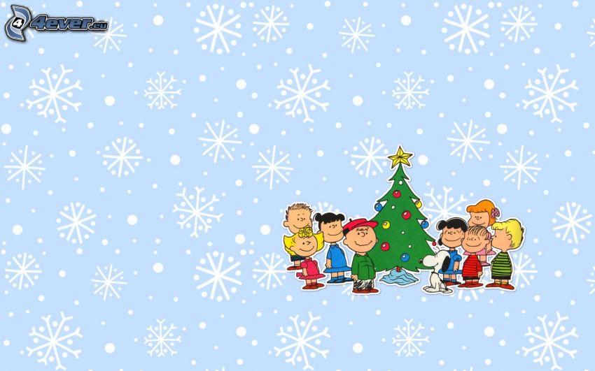 arbre de Noël, personnages, flocons de neige