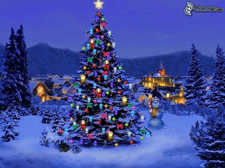 arbre de Noël, village, homme de neige, forêt, nuit, dessin animé