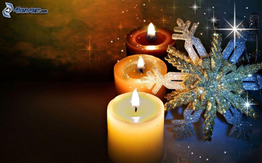 bougies, flocon de neige