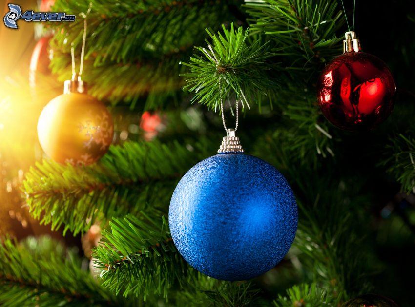 boules de Noël, arbre de Noël