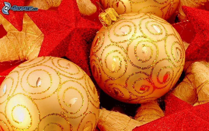 boules de Noël, étoiles