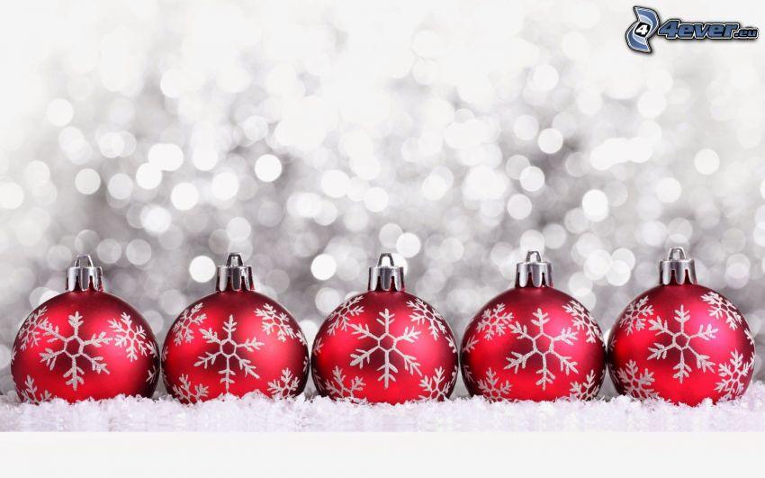 boules de Noël, flocons de neige