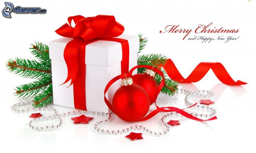 cadeau, Merry Christmas, happy new year, boules de Noël, aiguilles d'arbres
