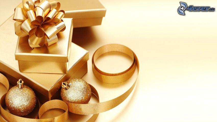 cadeaux, boules de Noël, ruban