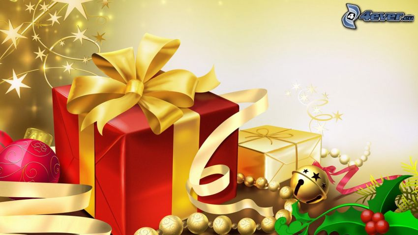 cadeaux, jingle Bell, boules de Noël, ruban