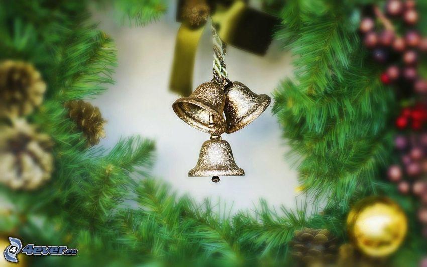 cloche de Noël, branche de conifère