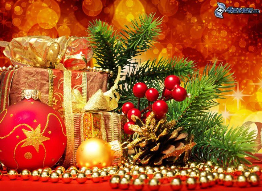 décorations de noël, cadeaux