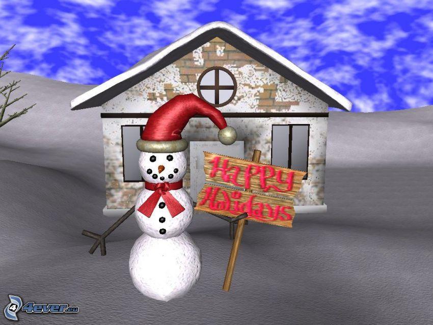 homme de neige, joyeux Noël