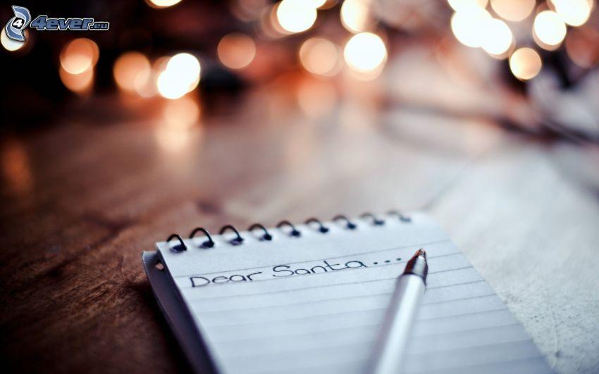 lettre, Santa Claus, stylo, lumières
