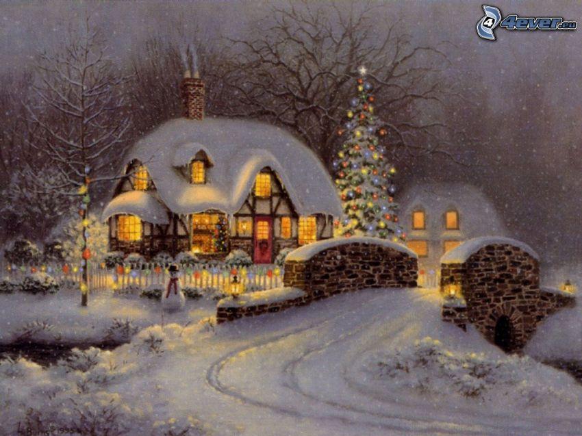 maison enneigée, pont de pierre, arbre de Noël, dessin animé, Thomas Kinkade