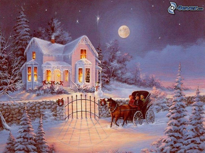 maison enneigée, traction des chevaux, calèche, lune, neige, arbres conifères, Thomas Kinkade