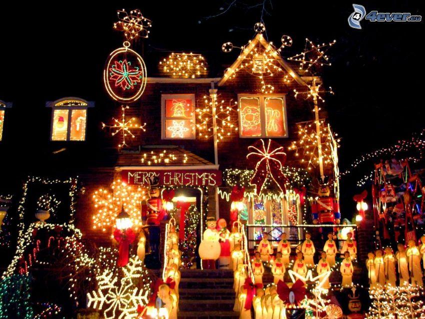 maison illuminée, lumières, Merry Christmas, nuit