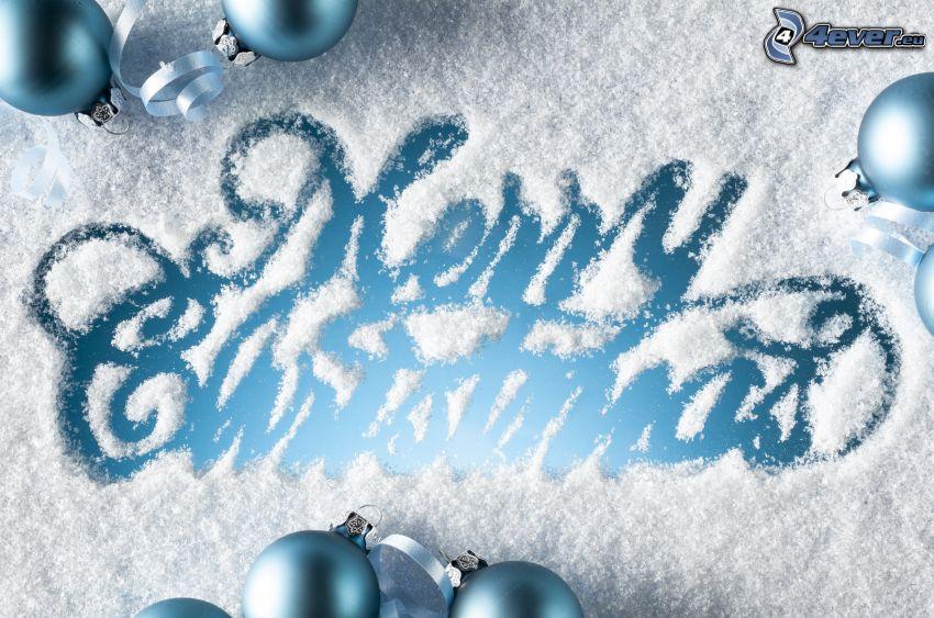 Merry Christmas, neige, boules de Noël