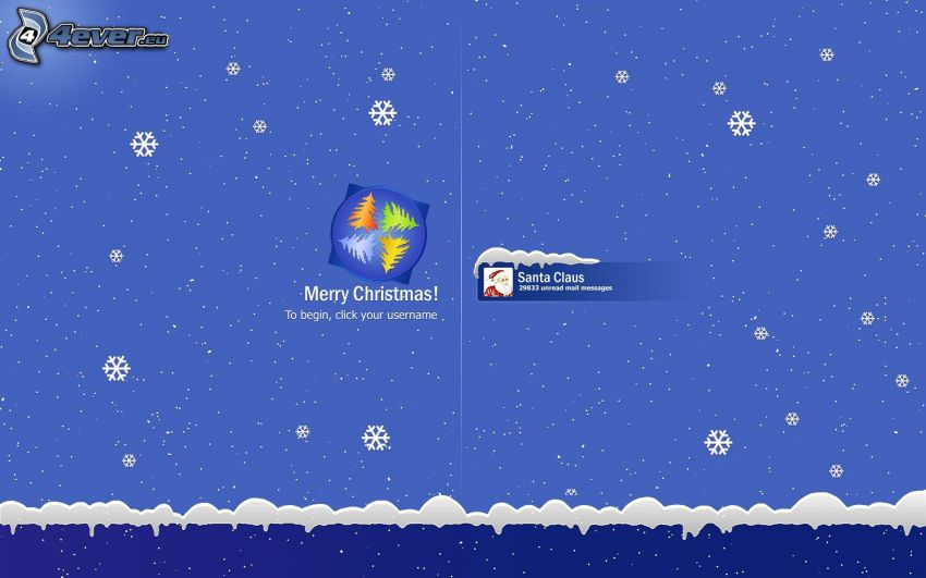 Merry Christmas, Windows, flocons de neige
