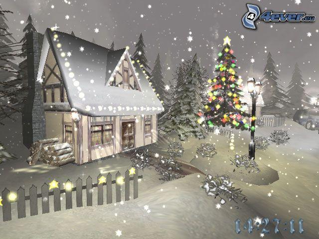noël, lumières, chalet, neige