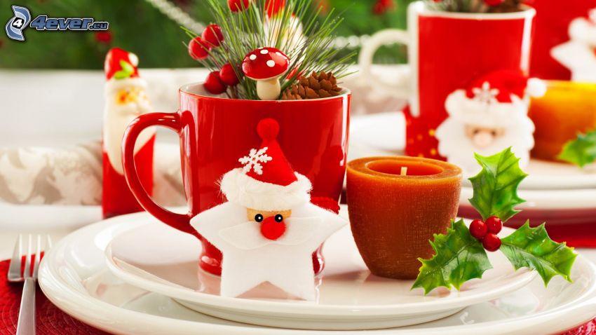 Tasses, Santa Claus, bougie, aiguilles d'arbres