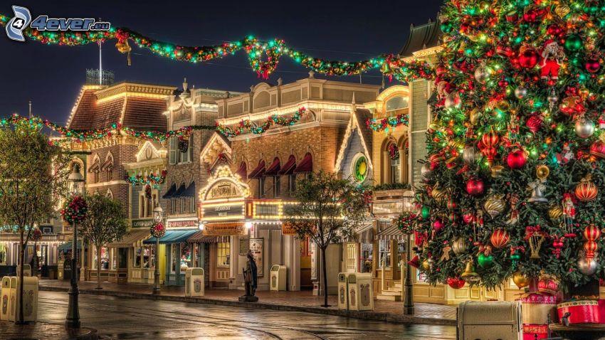 ville dans la nuit, arbre de Noël, dessin animé