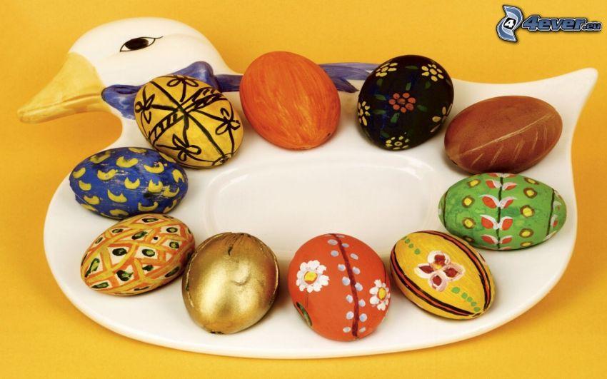 cygne, des oeufs peints, oeufs de Pâques