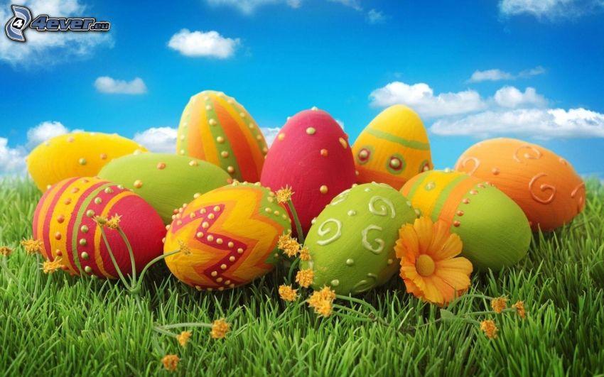 des oeufs peints, oeufs de Pâques, l'herbe