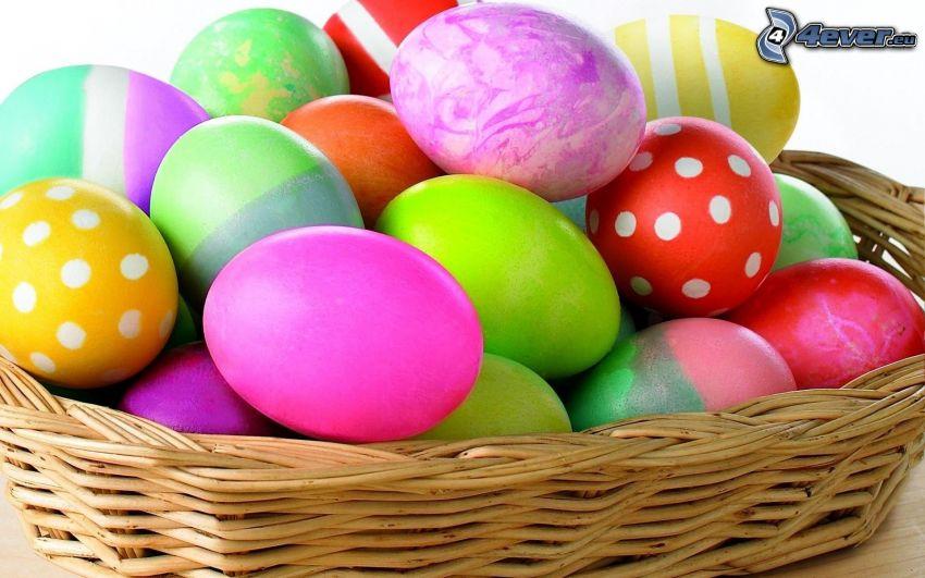 des oeufs peints, oeufs de Pâques, panier