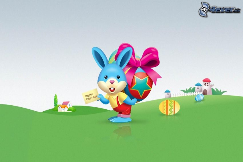 Happy Easter, lapin de pâques, oeufs de pâques