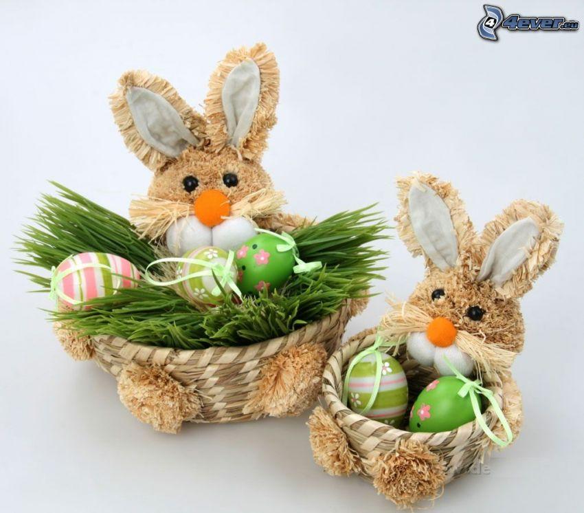 lapins de pâques, paniers, œufs
