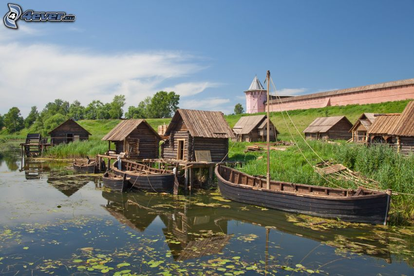 bateaux, lac, maisons