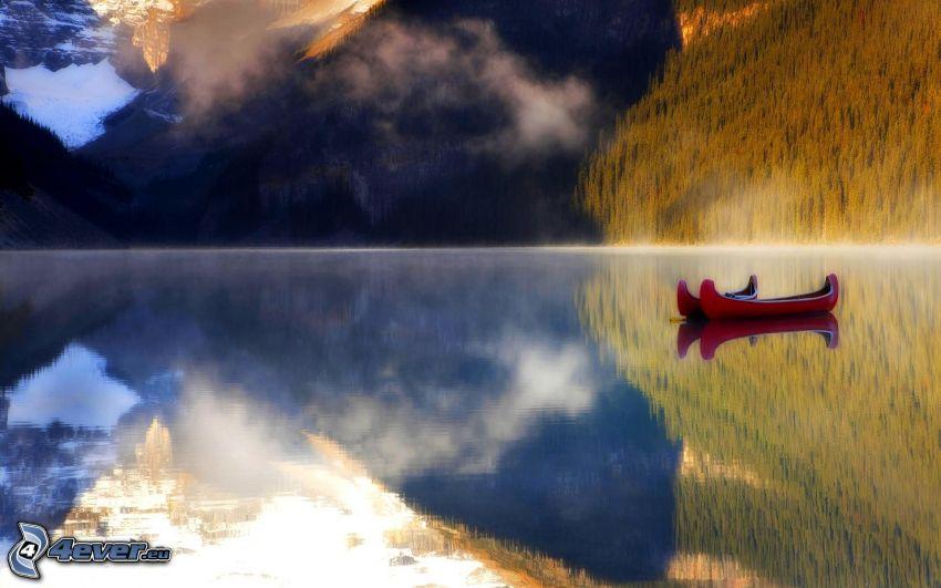 canoë, lac, montagnes