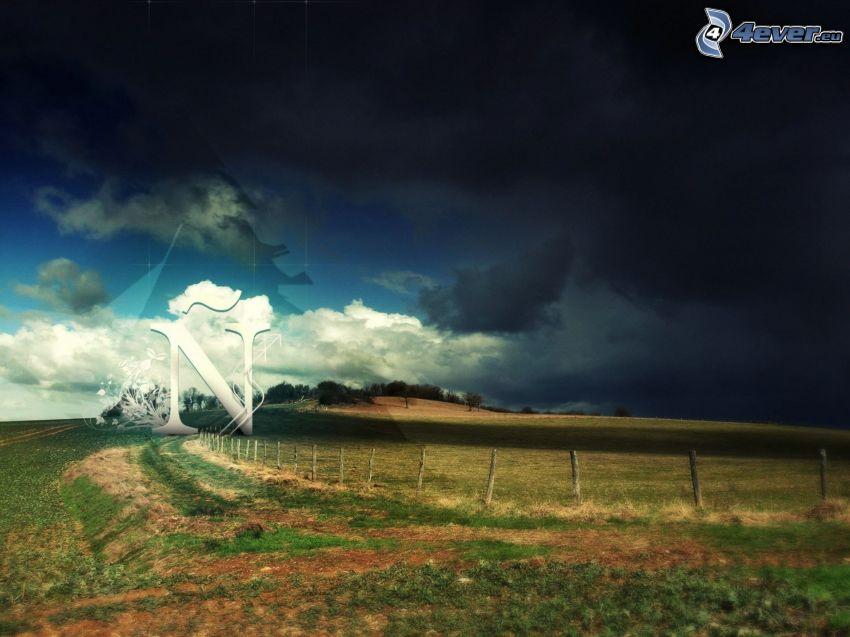 champ, nuages d'orage