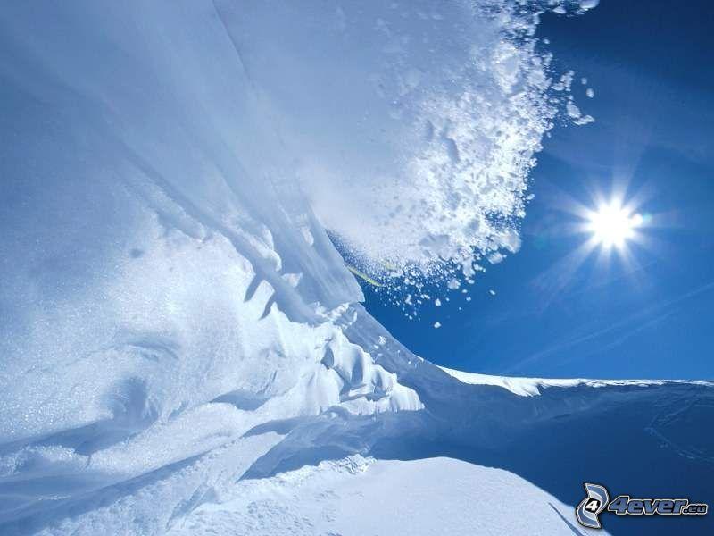 avalanche, neige, soleil, l'hiver, glace