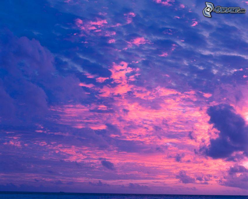 bleu et rose nuages, atmosphère