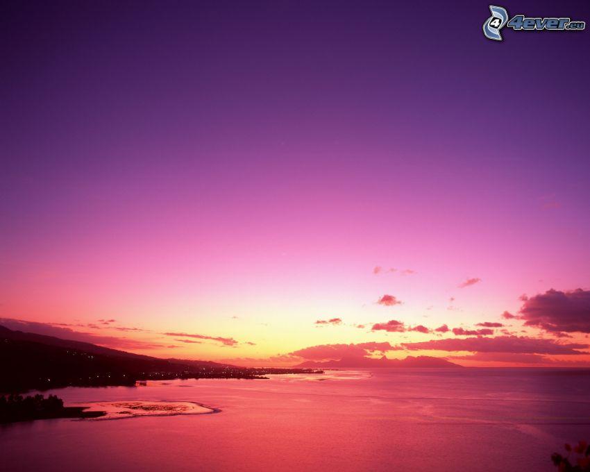 ciel violet, plage au couchage du soleil, côte, mer, océan