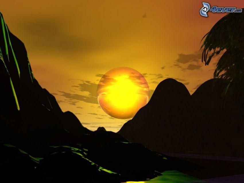 coucher du soleil, paysage numérique
