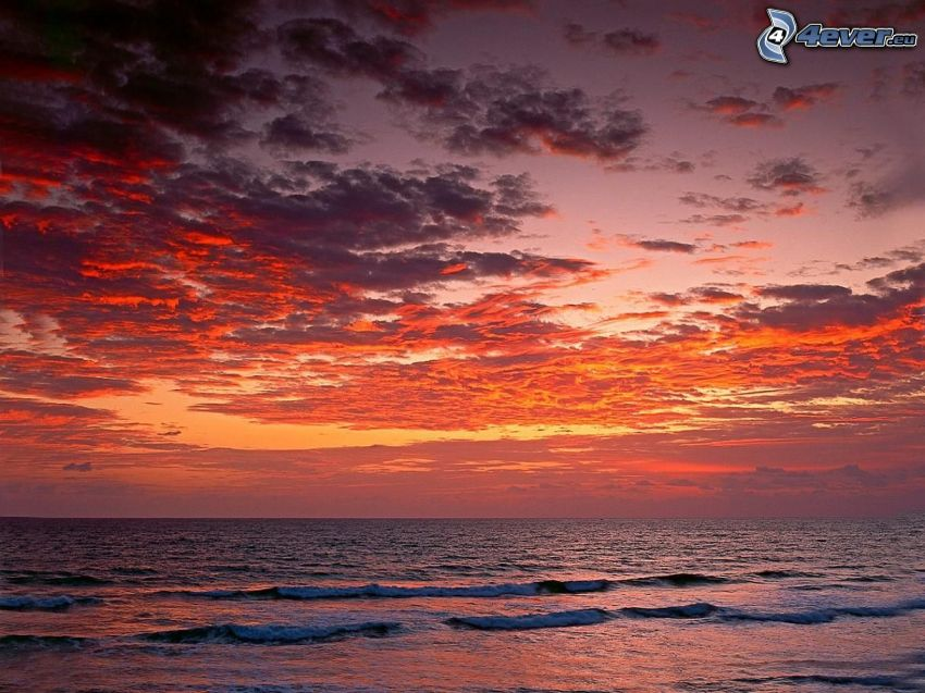 plage au couchage du soleil, ciel rouge, mer, vagues