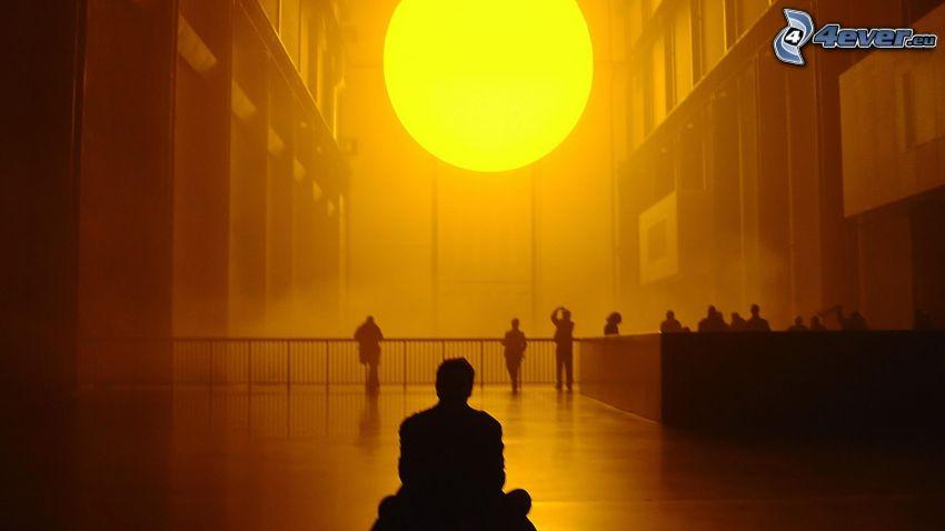 soleil, silhouette d'un homme