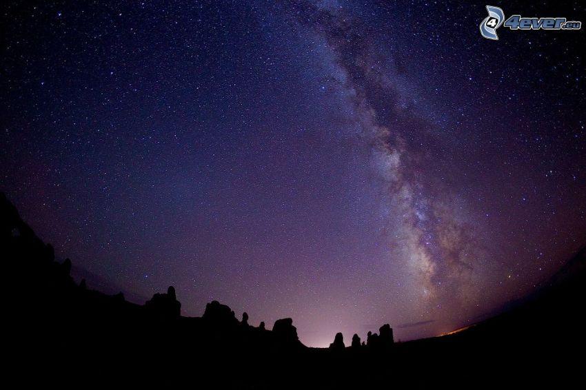 Voie lactée, ciel étoilé, silhouettes