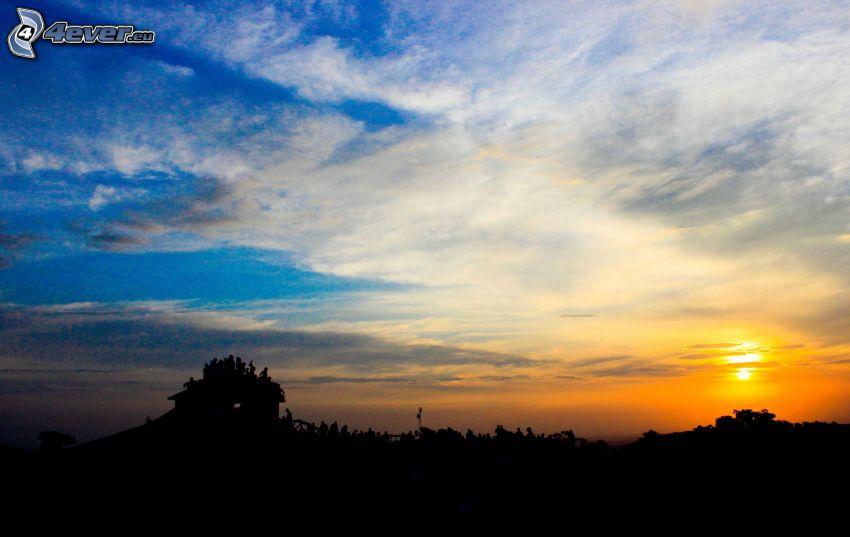 coucher du soleil, silhouette horizon
