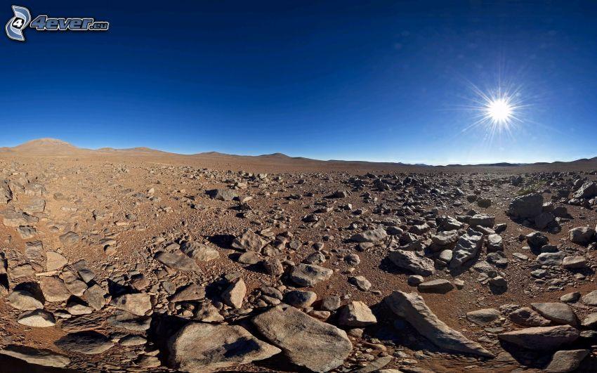 désert, pierres, soleil