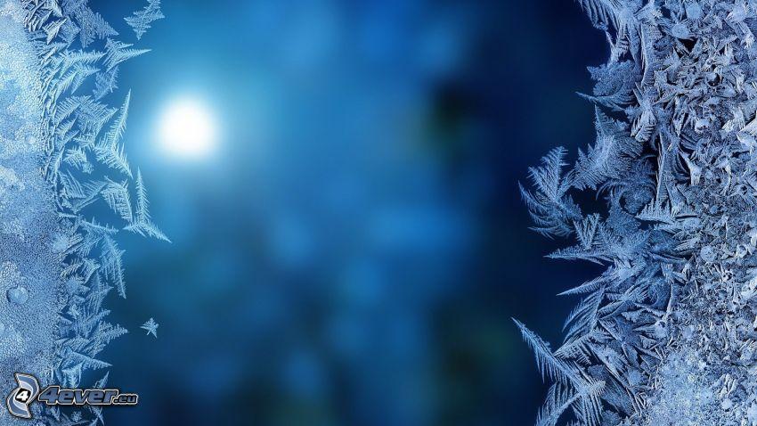 givre, fond bleu