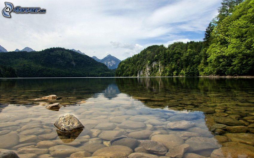lac, pierres, arbres, colline, surface de l´eau calme