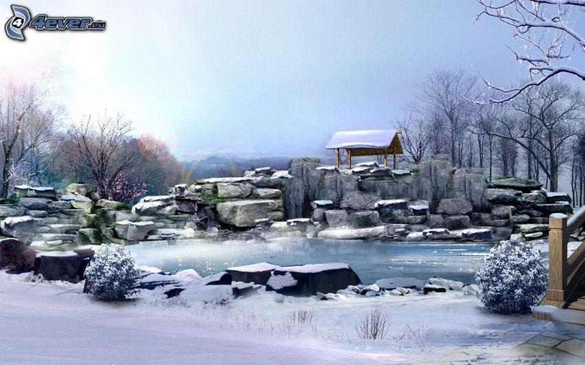 lac, pierres, neige