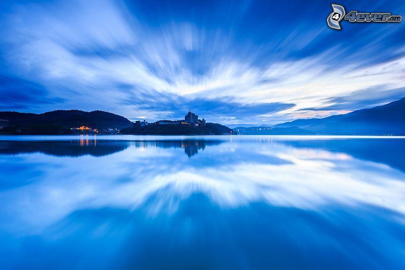 lac, soirée, collines