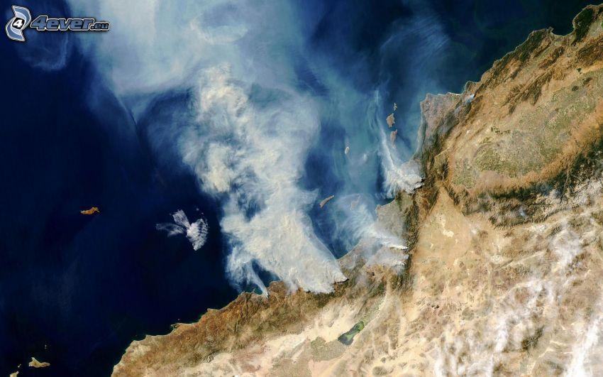 les incendies, côte, imagerie satellitaire