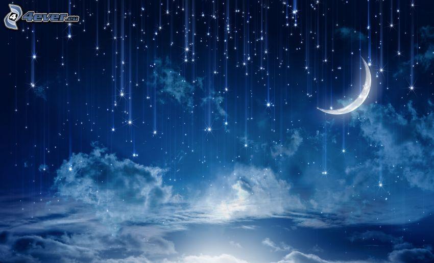 lune, étoiles, nuages, nuit