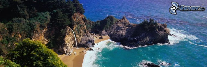 baie avec de rochers, côte, mer, panorama